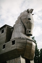 Trojan horse. The historical monument in the historical city of Troy.