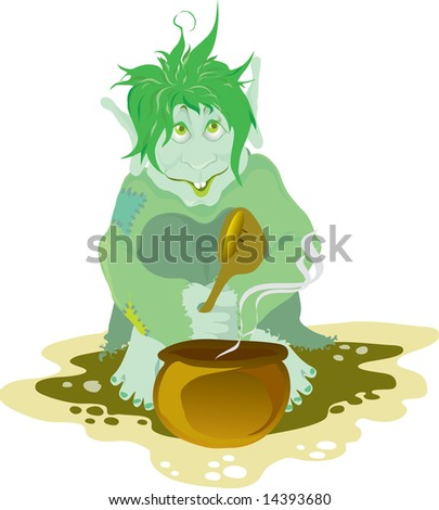 troll eating food from the pot with big spoon RASTER