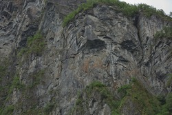Troll Face on a Cliff of the Geirangerfjord, More og Romsdal, Norway.