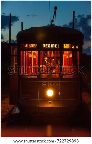 Trolley car at dusk