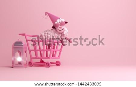 Trolley cart, arabic lantern, sheep, on pink pastel background. Design concept of islamic eid al adha sale event. 3D rendering illustration.