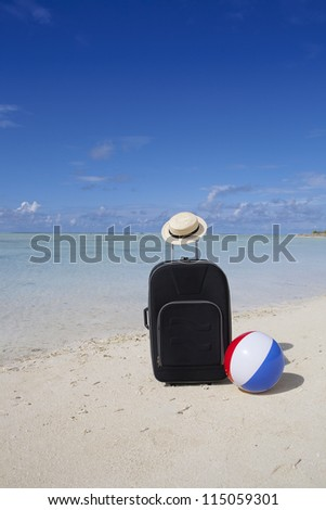 trolley case with sun hat, beach ball and sunshade in summer