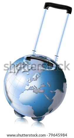 Trolley-shaped blue globe for travel by plane, ship and train