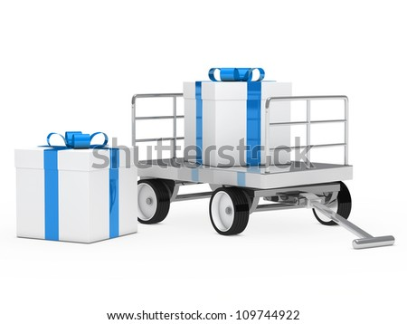 trolley with blue white christmas gift box