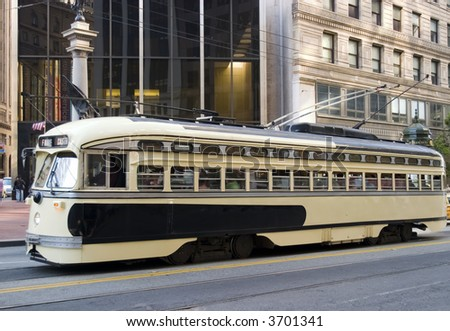 Trolley yellow and brown Public transportation in San Francisco California