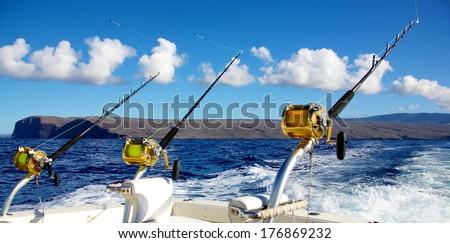 Trolling rods for deep sea fishing ストックフォト ©