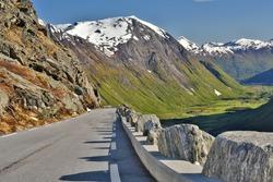 Trollstigen Mountainroad in Western Norway, famous tourist route, RV 63, in the Trolltindan mountains.