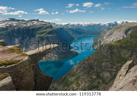 Trolltunga, Troll's tongue rock above lake Ringedalsvatnet, Norway