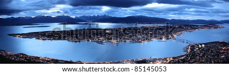 Tromso by twilight panorama, Troms County, northern Norway
