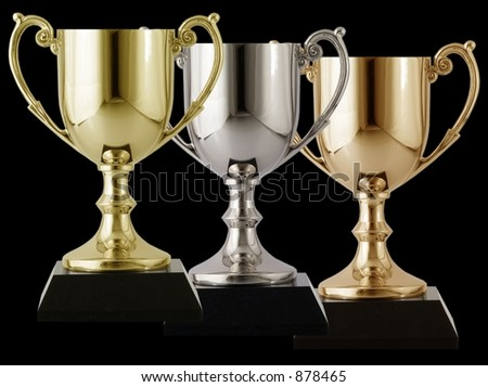 Trophies arranged on a isolated black background