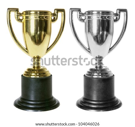 Trophies on White Background