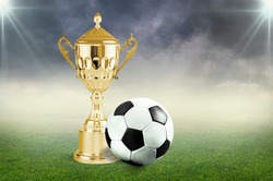 Trophy and football balll