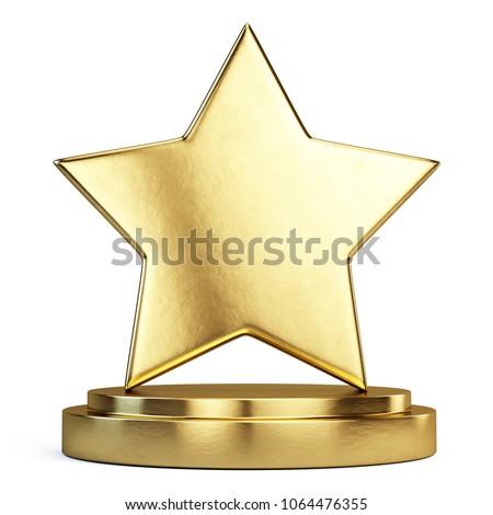 Trophy award concept - Golden Star on golden podium. 3d rendering