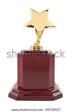 Trophy award on the white background