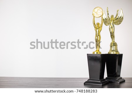 Trophy award winner with white background. #748188283