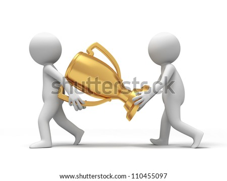 trophy /cup/Two people carried a trophy - stock photo