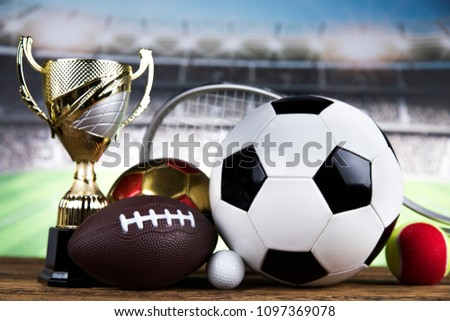 Trophy for champion, sport background #1097369078