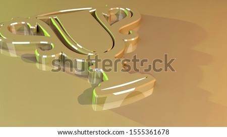 Trophy symbol. Goblet icon. Cup sign. 3D rendered illustration. Glossy surface. Yellow and golden colors with green highlights. Symbolism for a win, a first place or success.