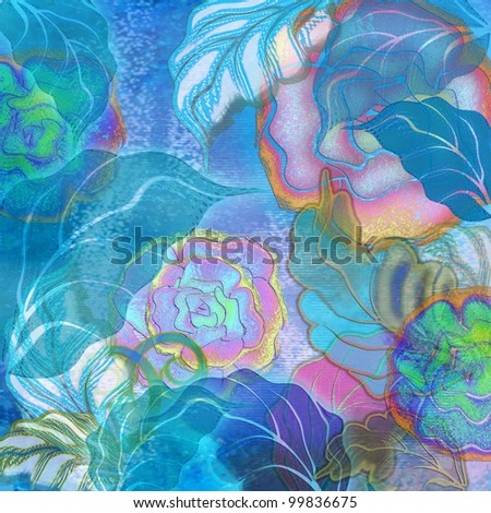 tropic blue and pink floral design
