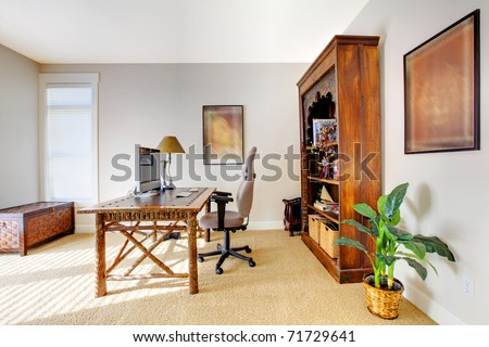 Tropic style home office with beige