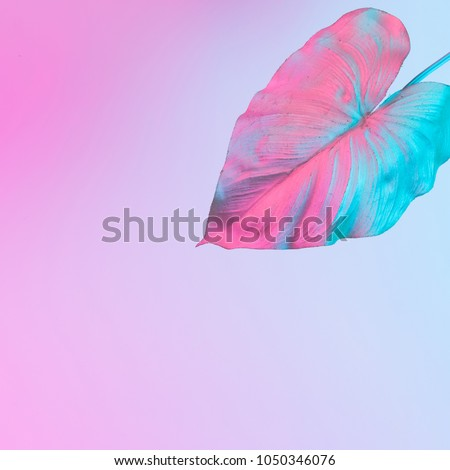 Tropical and palm leaves in vibrant bold gradient holographic neon  colors. Concept art. Minimal surrealism background. - Shutterstock ID 1050346076