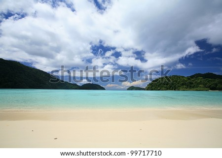 Tropical andaman beach scenic with beautiful cloud and blue sky at Surin islands national park, Thailand