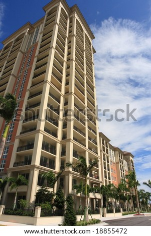 Tropical apartment building over looking the bay