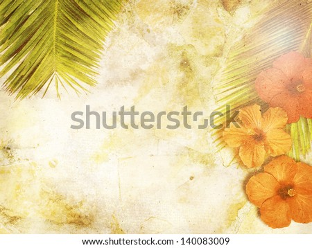 tropical background with palm leaves and hibiscus