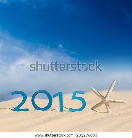 tropical beach and 2015 happy new year Season vacation snd new year concept