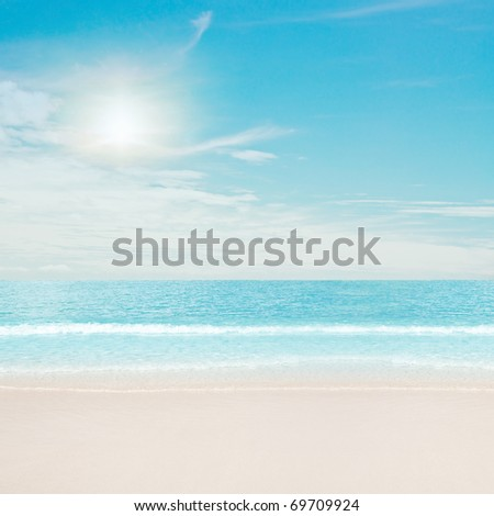 Tropical beach and ocean. Sun and clouds #69709924