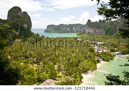 Tropical beach and palm trees in Krabi area (Thailand)