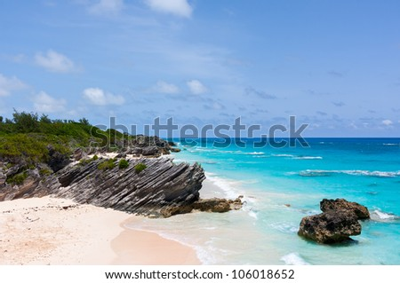 Tropical Beach at Horseshoe Bay in Bermuda.