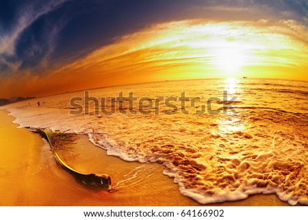 Tropical beach at sunset, Chang island, Thailand, fisheye shot