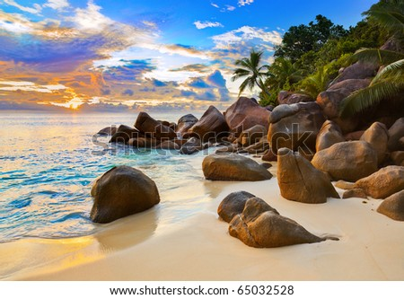 Tropical beach at sunset - nature background #65032528