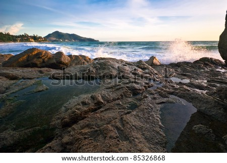 Tropical beach at sunset. Nature background - stock photo