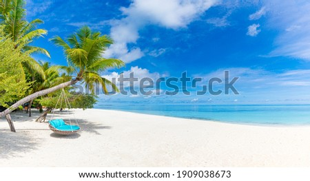 Tropical beach background as summer relax landscape with beach swing or hammock and white sand and calm sea for beach template. Amazing beach scene vacation and summer holiday concept. Luxury travel