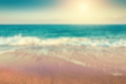 Tropical beach. Blurred travel background. Vintage filter