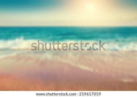 Tropical beach. Blurred travel background. Vintage filter