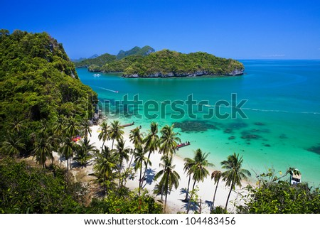 Tropical beach in Ang-Thong National Park, Thailand - stock photo