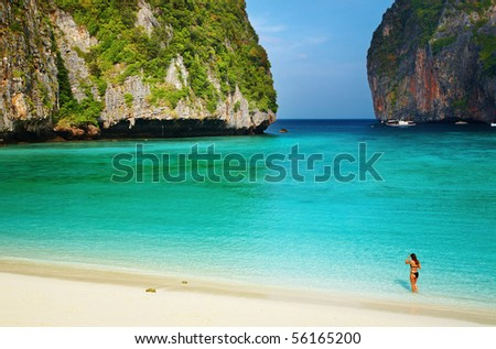 Tropical beach, Maya Bay, Andaman Sea, Thailand - stock photo