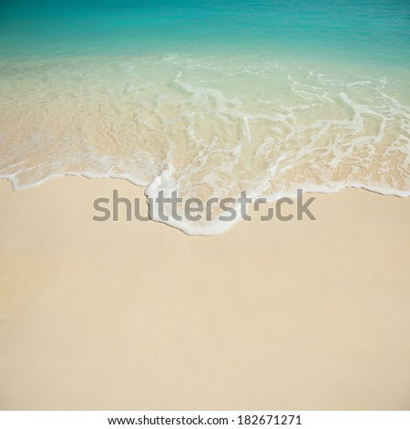 Tropical beach. Ocean wave background. White sand and crystal-blue sea. Ocean water nature, beach relax. Summer sea vacation. Maldives islands wave background #182671271