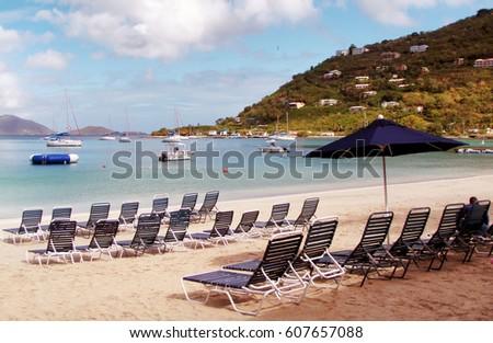 Tropical beach of Cane Garden Bay in the Caribbean island of Tortola