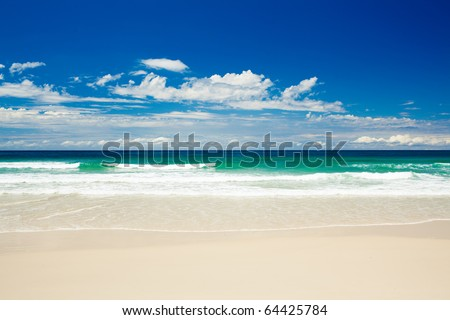gold coast beaches australia. stock photo : Tropical each on sandy Gold Coast beach in Australia