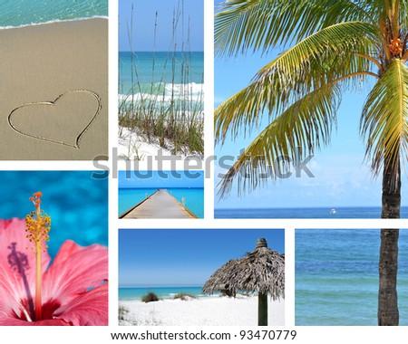 tropical beach photo collage