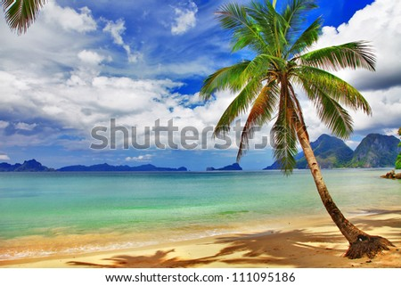 tropical beach scenery - stock photo