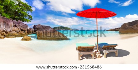 Tropical beach scenery from sun holidays in Thailand