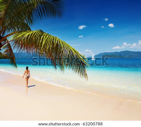 Tropical beach, Thailand - stock photo