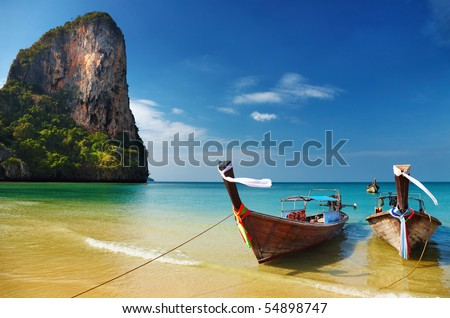 stock photo : Tropical beach, traditional long tail boats, Andaman Sea, Thailand