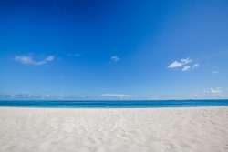 Tropical beach view. Calm and relaxing empty beach scene, blue sky and white sand. Tranquil nature concept