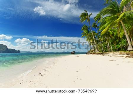 Tropical beach with blue sky.